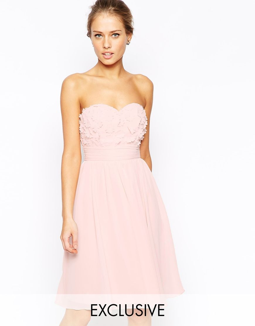 Enlarge little mistress bandeau prom dress with d floral applique