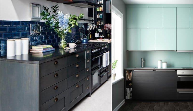 Чёрный цвет в интерьере кухни