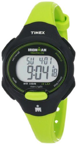 3b42c706a1d Timex Women`s T5K527 Ironman Traditional 10-Lap Bright Green Black Resin  Strap