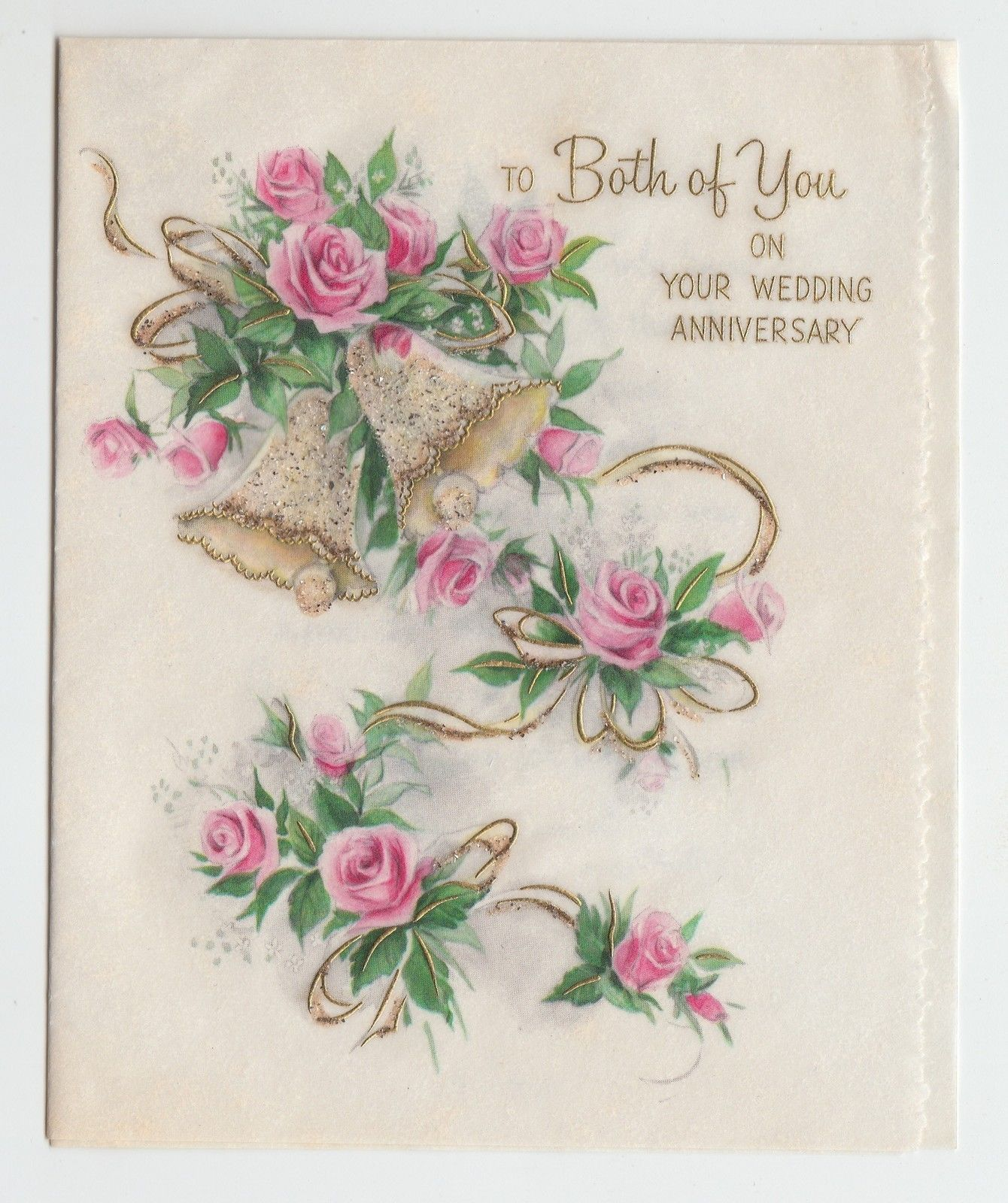 Vintage glitter bell and pink rose wedding anniversary