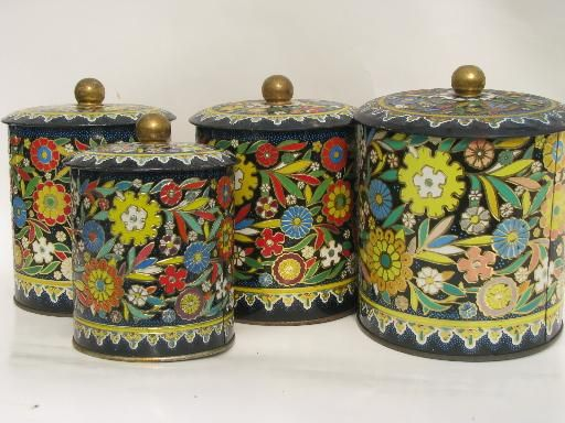Daher Decorated Ware Tray Made In England Vintage Daher Decorated Ware Made In England Tole Metal Canister