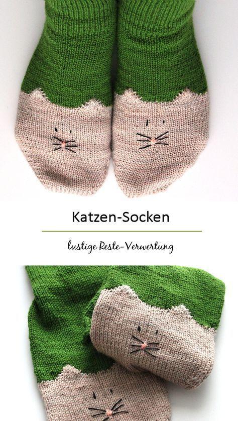 Photo of Reste-Verwertung mal anders :) free pattern: YinYan Kitty Ankle Socks || ravelry…