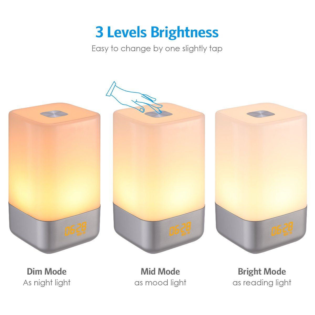 Amir Wakeup Light Beside Lamp Alarm Clock With Sunrise Simulation 5 Natural Sounds Rechargeable Touch Sensor Multic Night Light Sunrise Alarm Clock Alarm Clock