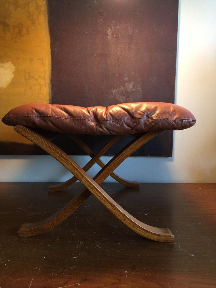 Vtg Mid Century Danish Modern Eames Teak Leather Westnofa Ottoman Foot Stool Danish Mid Century Modern Mid Century Danish Leather Lounge Chair