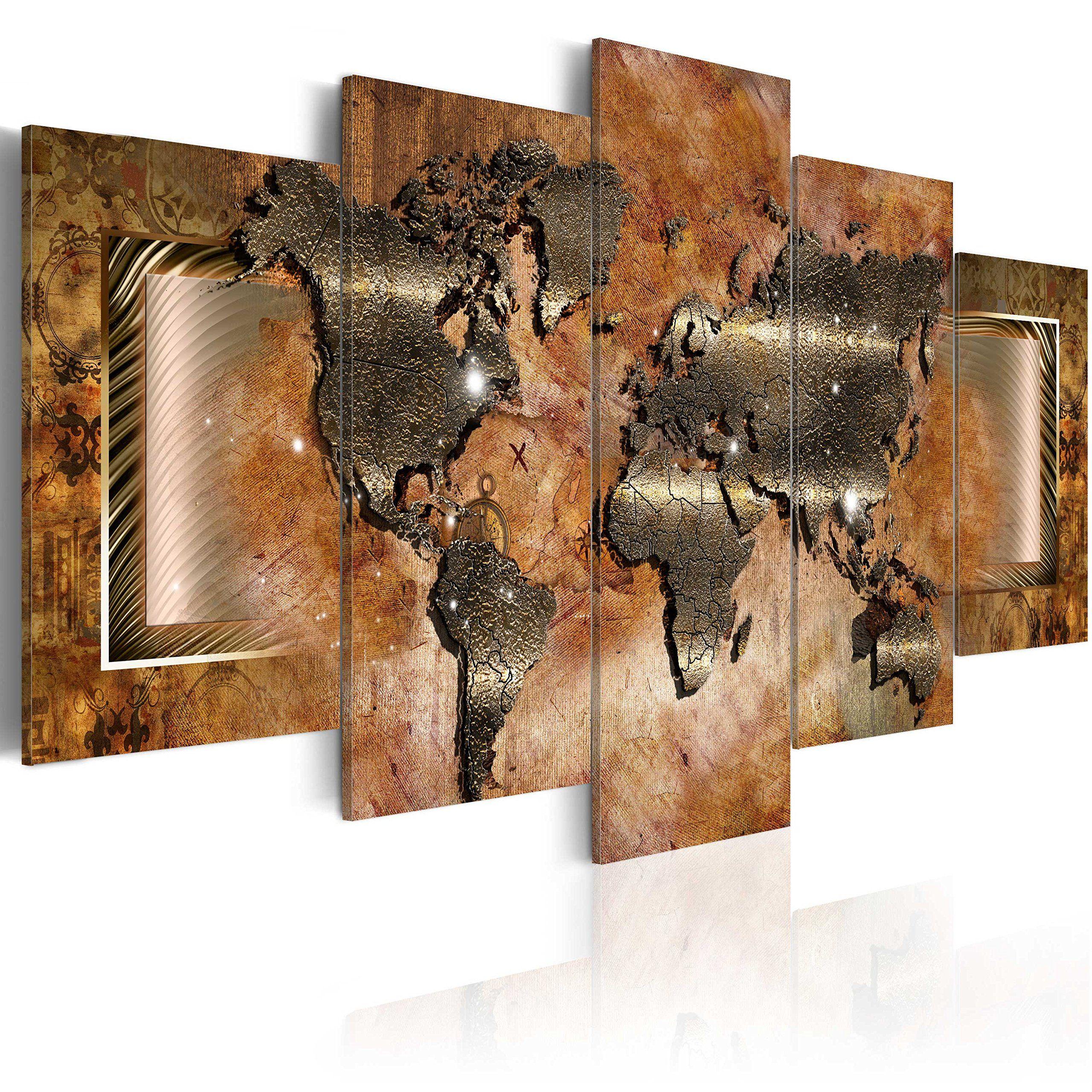 impression sur toile images 5 parties abstraction carte du monde tableau 020101 247. Black Bedroom Furniture Sets. Home Design Ideas