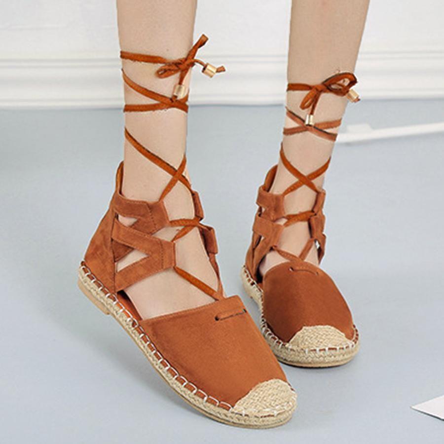 berrylook Plain Flat Velvet Ankle Strap