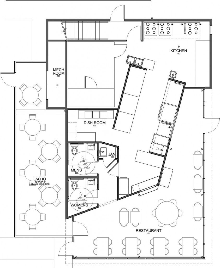 Kitchen Layout Plans For Restaurant: Kitchen: Stunning Modern Style Floor Plan Commercial