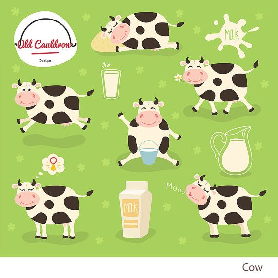 Happy Cows Clipart Commercial Use Milk Clipart Farm Animals Vector Clipart Digital Images Vector Graphics Cl05 Cow Clipart Happy Cow Farm Animals Pictures