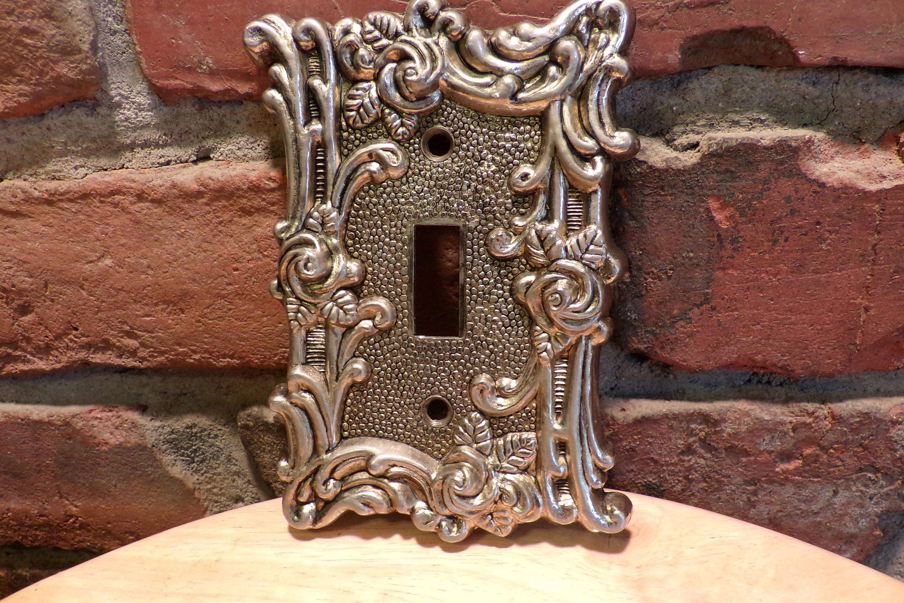 American Tack And Howe Light Switch Cover 1967 Plate Heavy Ornate Br