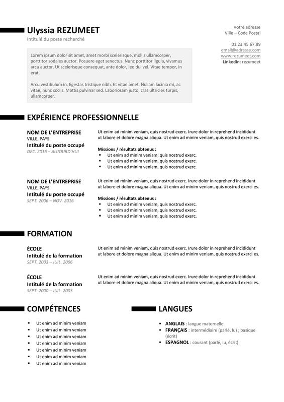 Très Ueno – Modèle de CV Professionnel Gratuit - Version Noire | CV  IO97