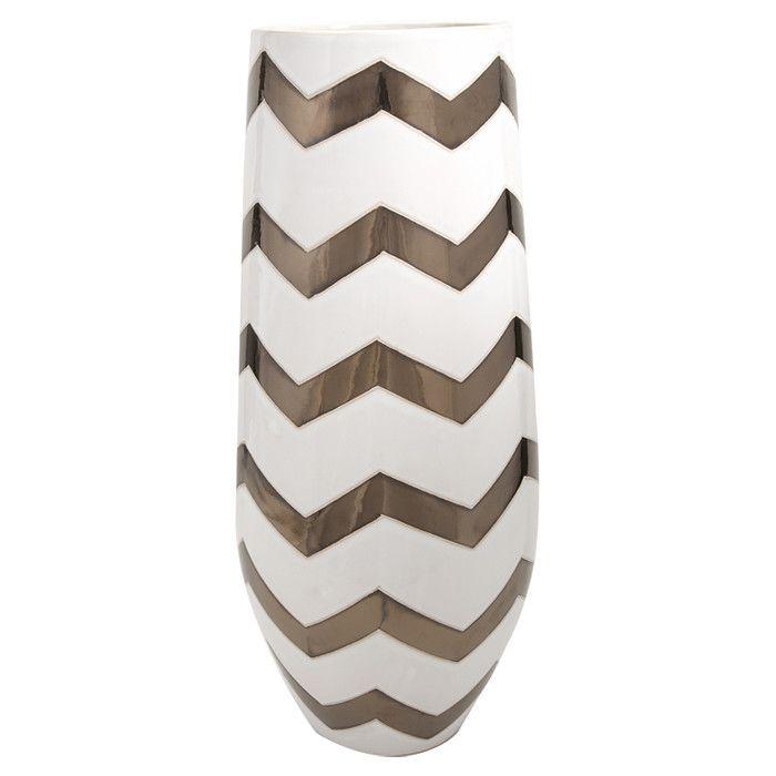 Tall Metallic Chevron Design Vase