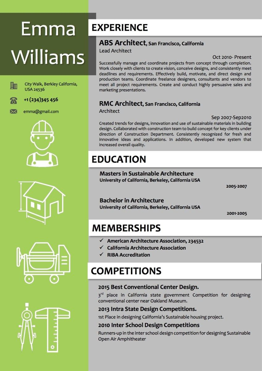 architect resume template in green color word resume templates