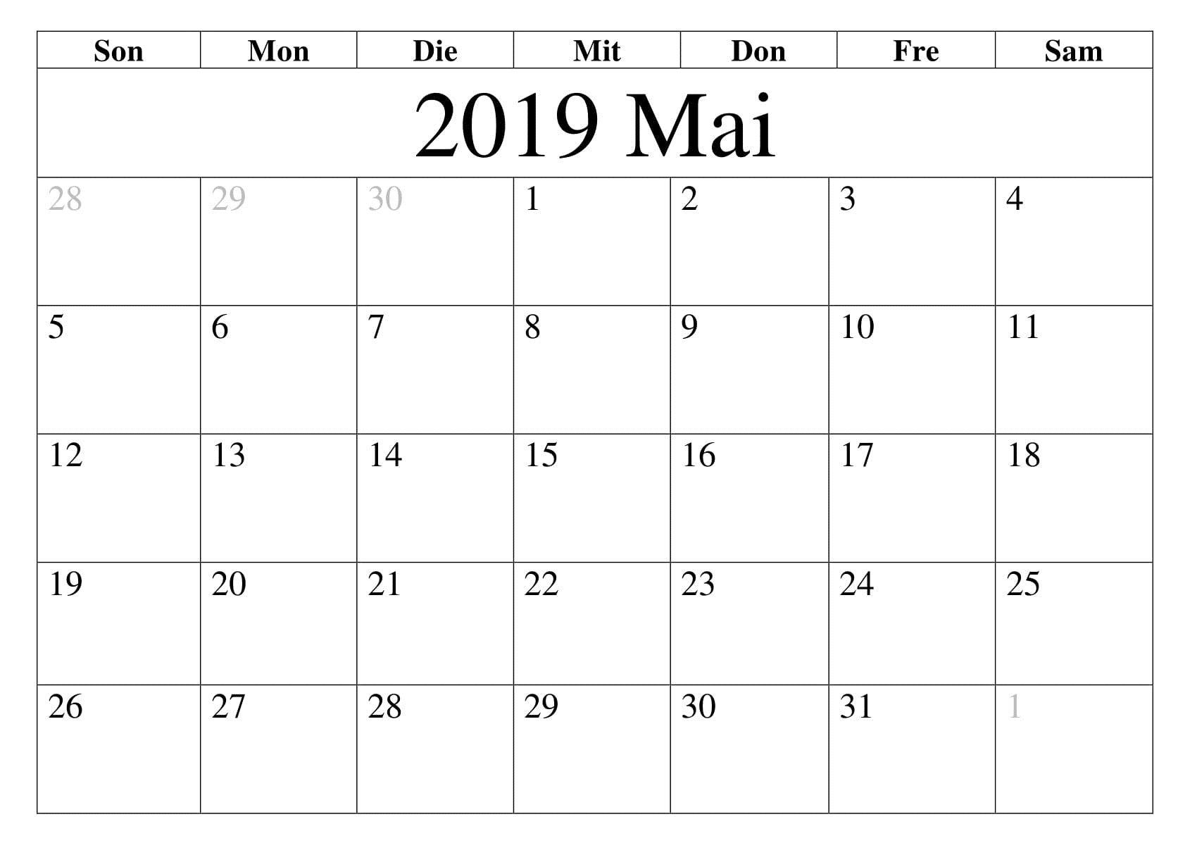 Kalender 2019 Mai Monats Calendar Template Calendar 2019