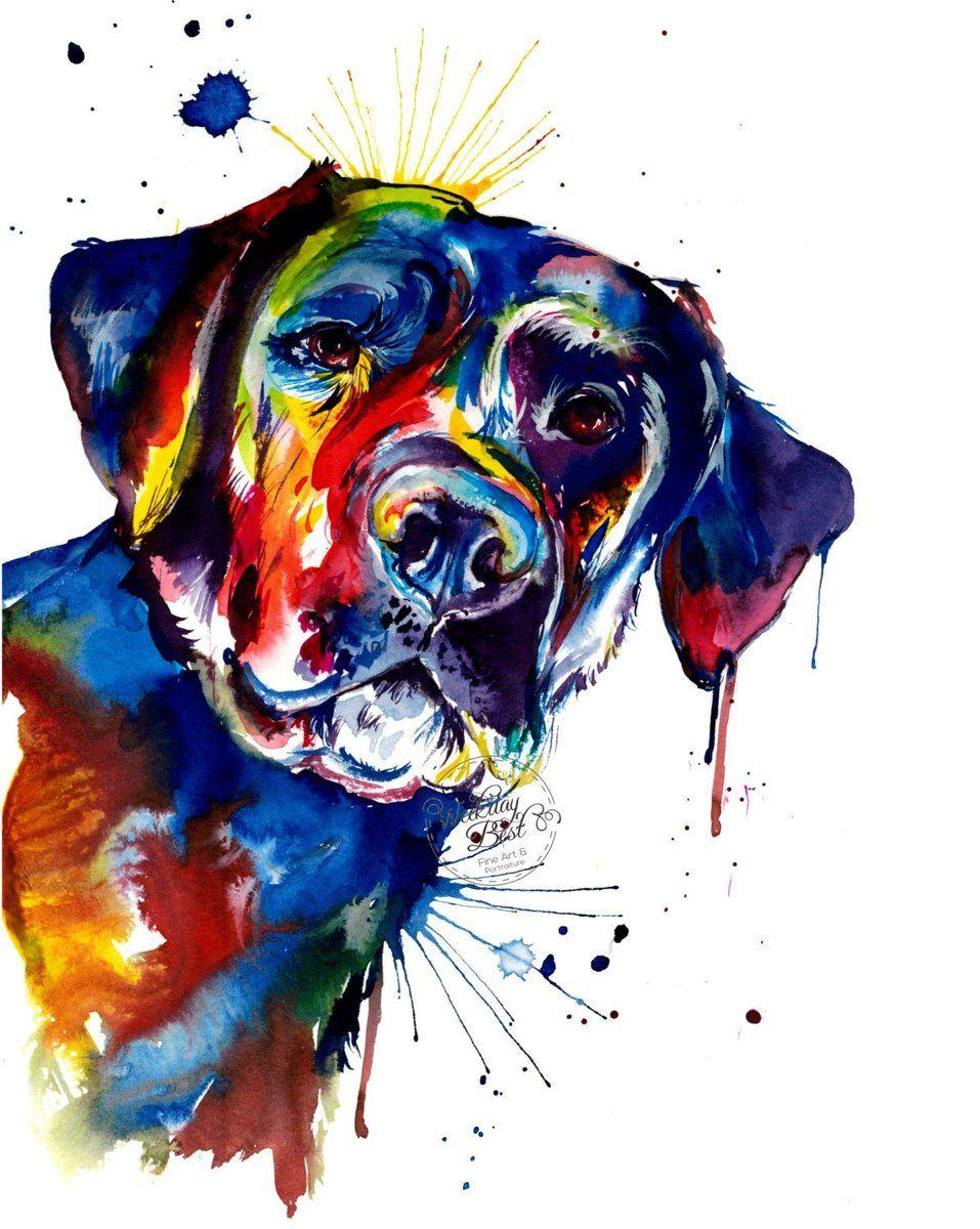 Black lab 2 watercolor print labrador retriever art