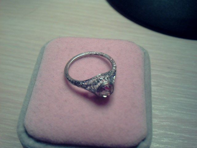 Spectacular Art Deco Sterling Filigree Paste Diamond Solitaire Ring