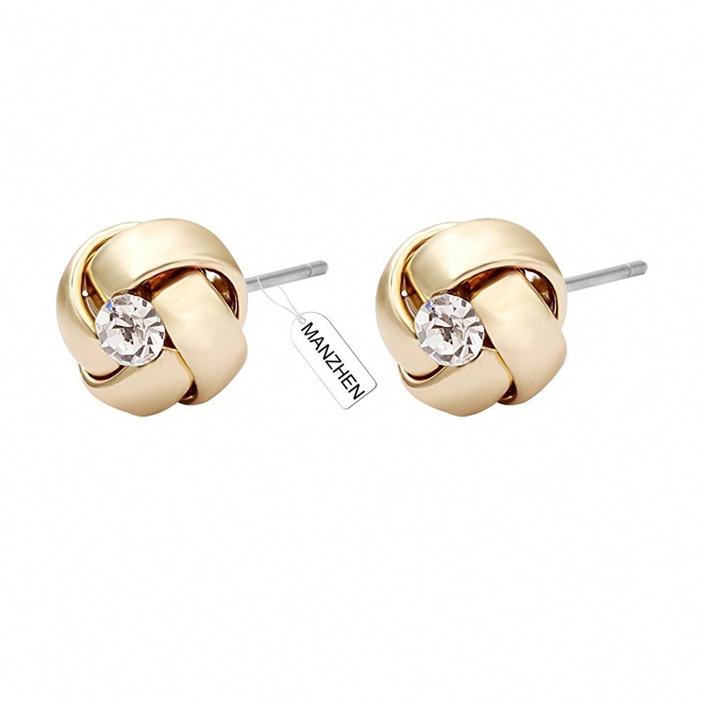 New UK POST Elegant 925 Sterling Silver  Knot Twist Round Stud Earrings