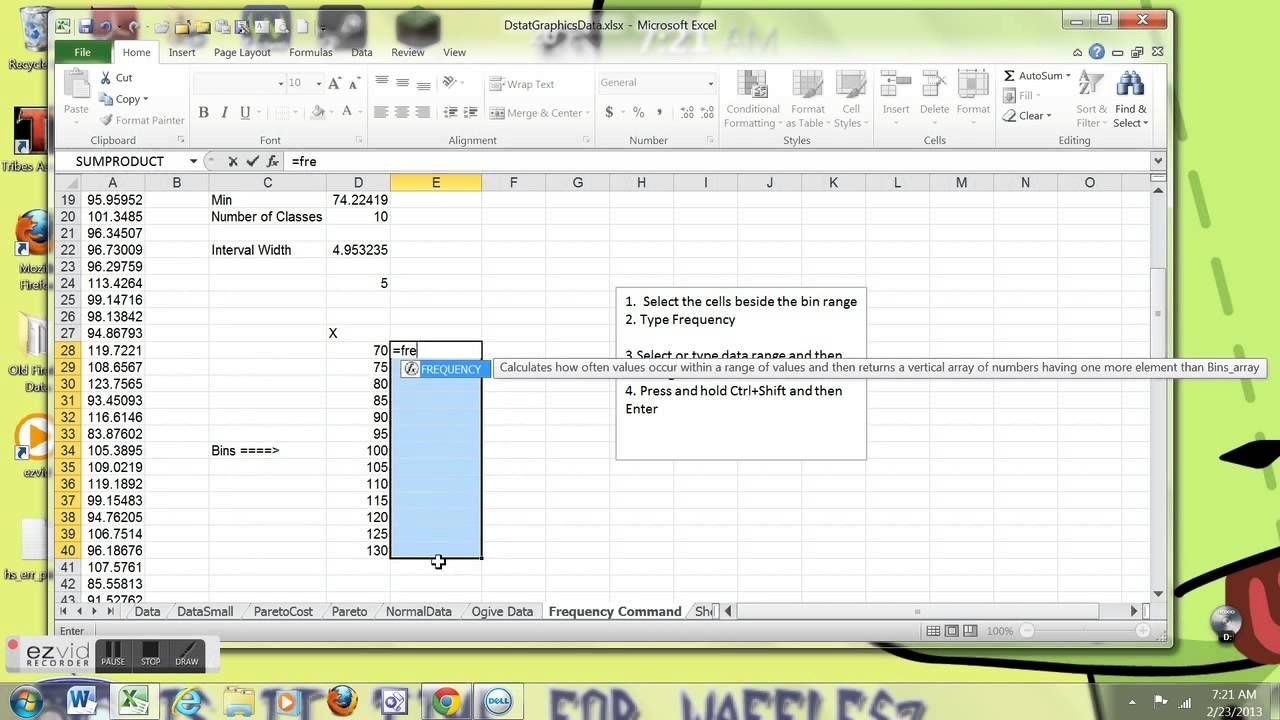 Frequency Function in Excel Excel, Frequencies, Spreadsheet