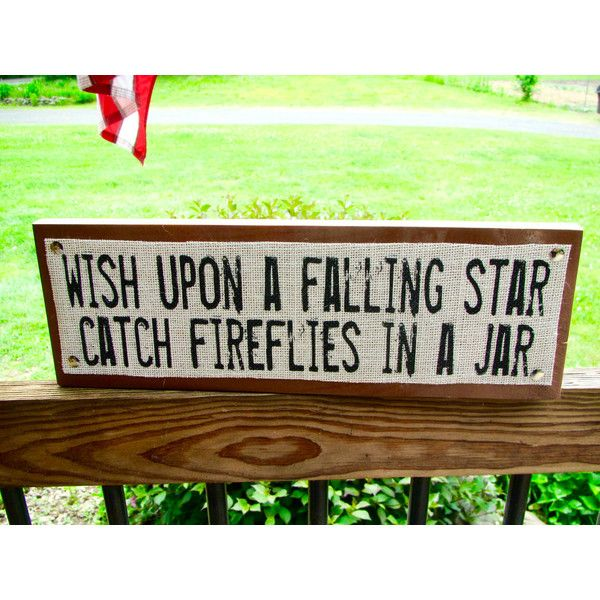 Burlap and Wood Cabin Camp Sign Wish Upon a Falling Star Catch... ($18) ❤ liked on Polyvore featuring home, home decor, grey, home & living, home décor, wall décor, wood home decor, star home decor, gray home decor and painted signs