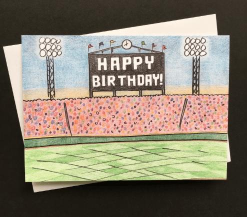 Happy Birthday Baseball Greeting Cards Blank Box Set 8