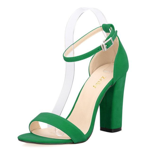 4a2ba879967 Newest Women Pumps Open Toe Sexy Ankle Straps High Heels Shoes Summer  Ladies Bridal Suede Thick Heel Sandals 368-1VE