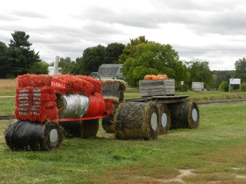 Bales Of Hay For Decoration Of Red Tractor Would Be Good For Pumpkin Patch Decoration