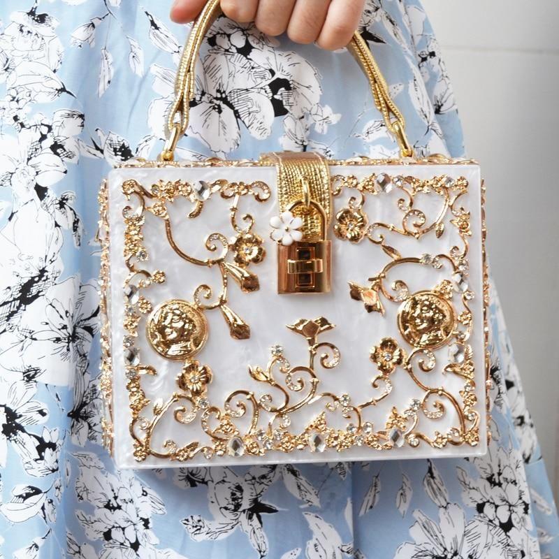Photo of Fashion Box evening bag diamond flower Clutch Bag hollow rel…