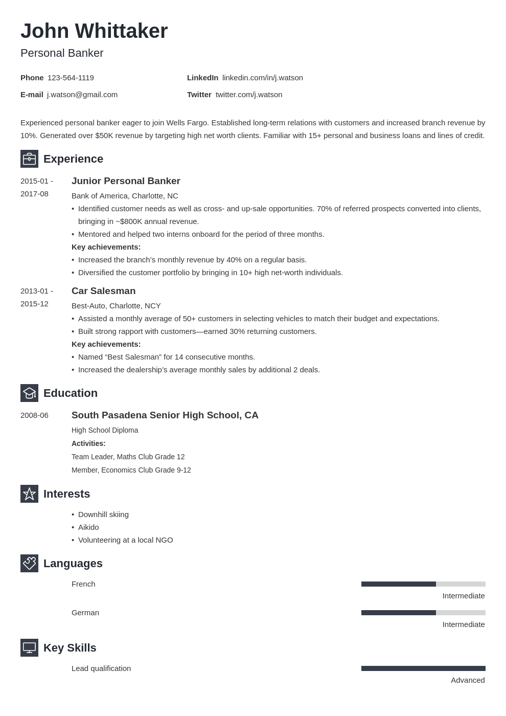 personal banker resume example template newcast in 2020