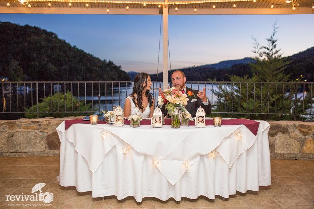 Lake Lure Wedding Venues | Evening Wedding Reception Overlooking Lake Lure Rumbling Bald