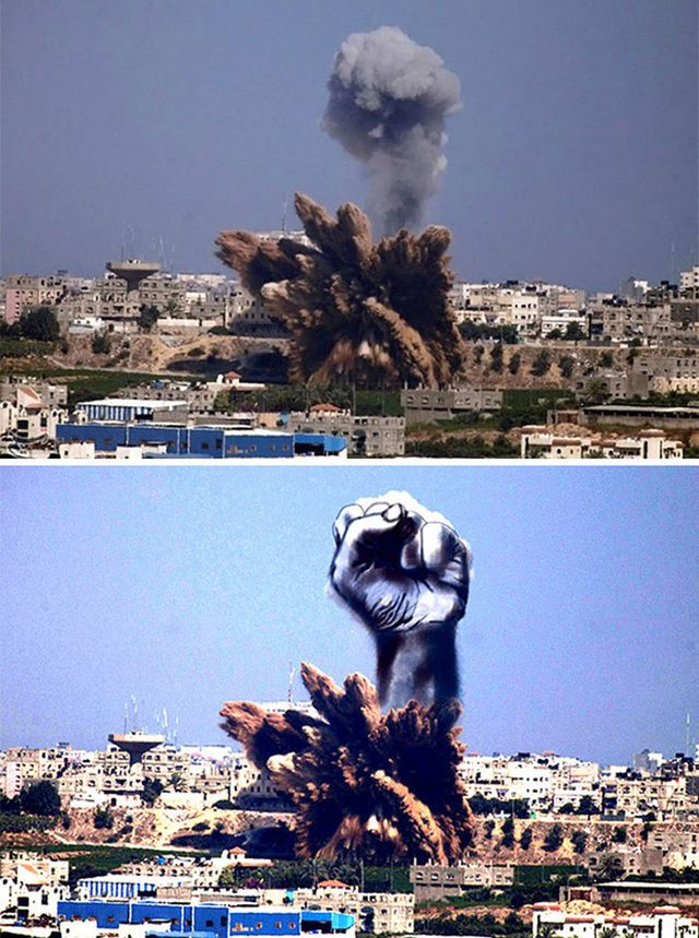 When Art Unites: Palestinian Artists Create Powerful Images From Israel's Rocket Attack Sites.