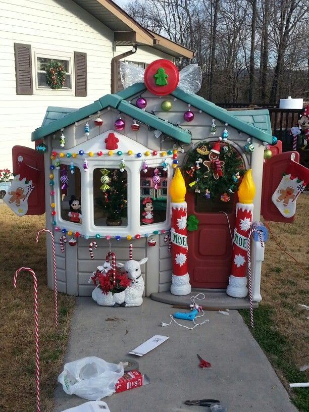 Gingerbread House Out Of An Old Playhouse Christmas Decorations Diy Outdoor Outside Christmas Decorations Outdoor Christmas Diy