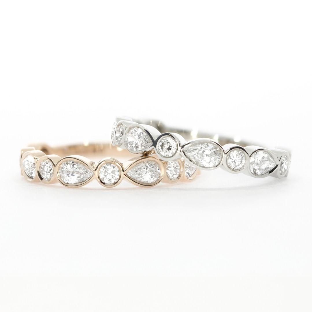 The Montez Diamond Eternity Ring Aka The Perfect Diamond Wedding Ring The Pear Diamonds And Round Diamonds Make For Alternative Wedding Rings With Style Pla