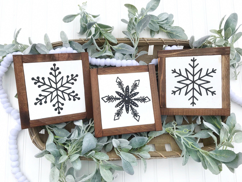 Photo of Snowflake wood signs set of 3 / shelf sitter / farmhouse Christmas / holiday block set / Christmas signs wood