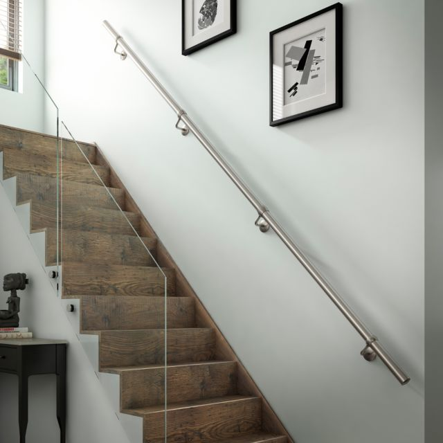 Best 1 8Mtr Brushed Nickel Metal Wall Mounted Handrail 400 x 300