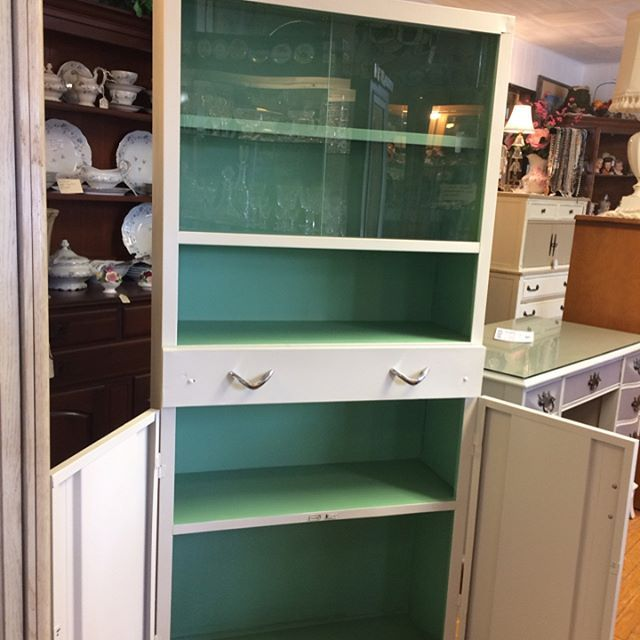 Used Metal Kitchen Cabinets: 1940's Metal Kitchen Cabinet. Painted With Dixie Belle