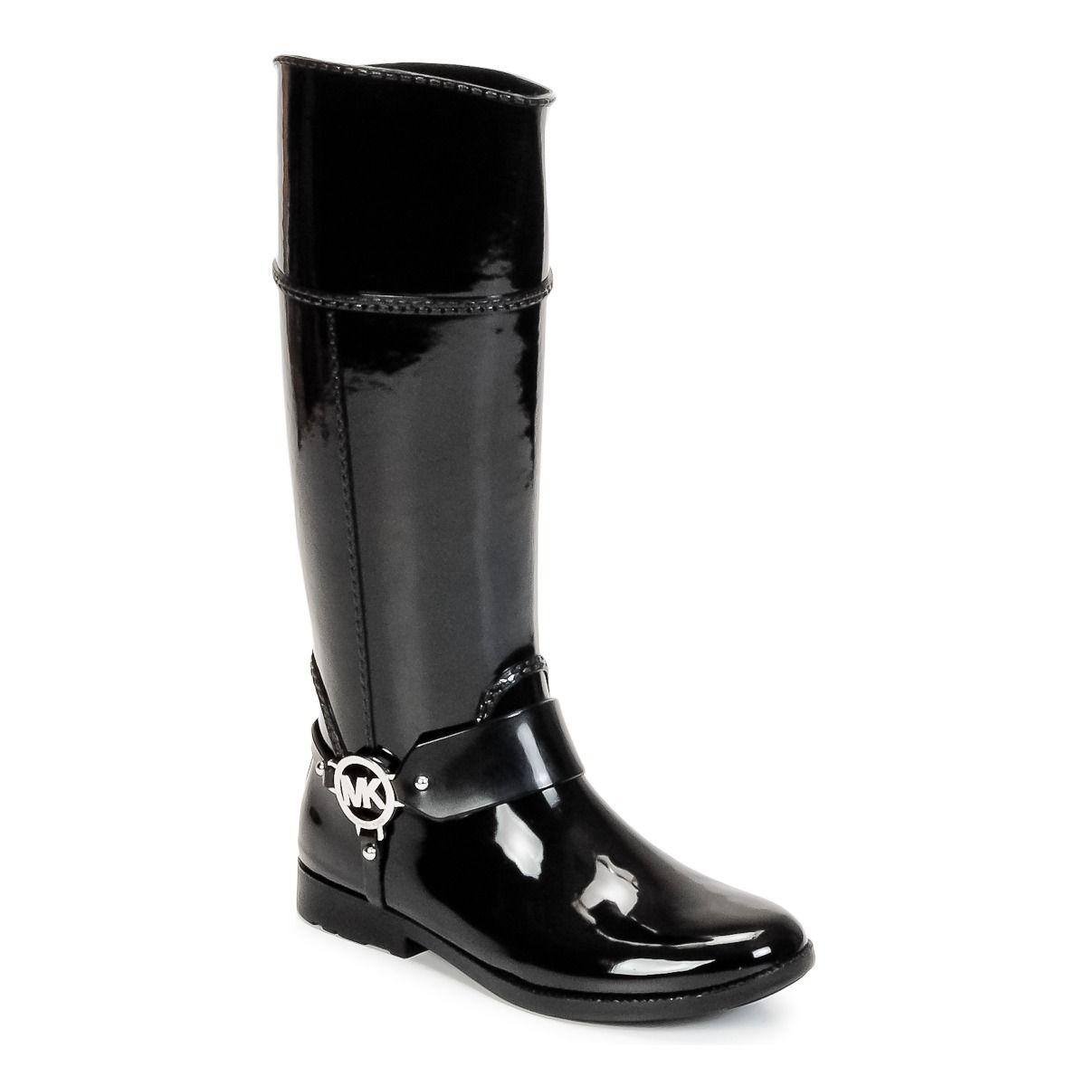 14a1cb4f3e0 Bottes de pluie MICHAEL Michael Kors FULTON HARNESS TALL RAINBOOT Noir prix  promo Bottes de pluie Femme Spartoo 129.00 €