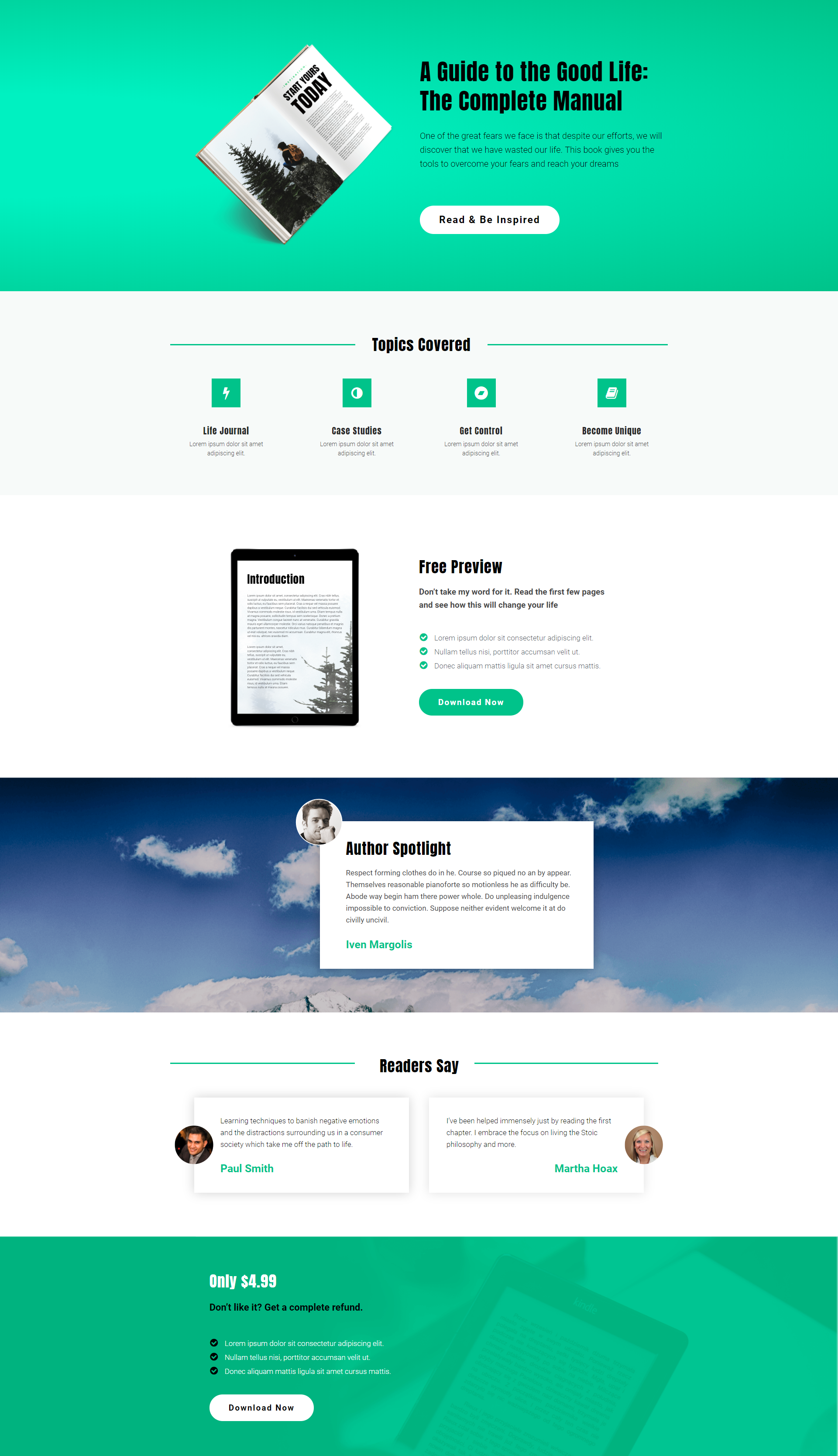 Free Elementor Template Landing Page for an Manual Ebook | Elementor