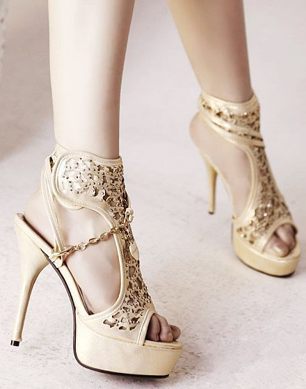 Sparkle Hollow out Sandals #lace #heels www.loveitsomuch.com