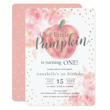 Pink Pumpkin & Floral Watercolor Girl 1st Birthday Invitation | Zazzle.com