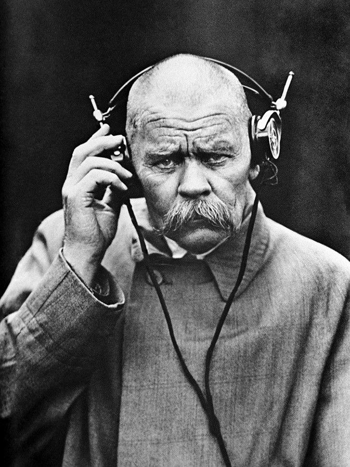 Maxim Gorky In Nizhny Novgorod Radio Laboratory 1928 Russia Under