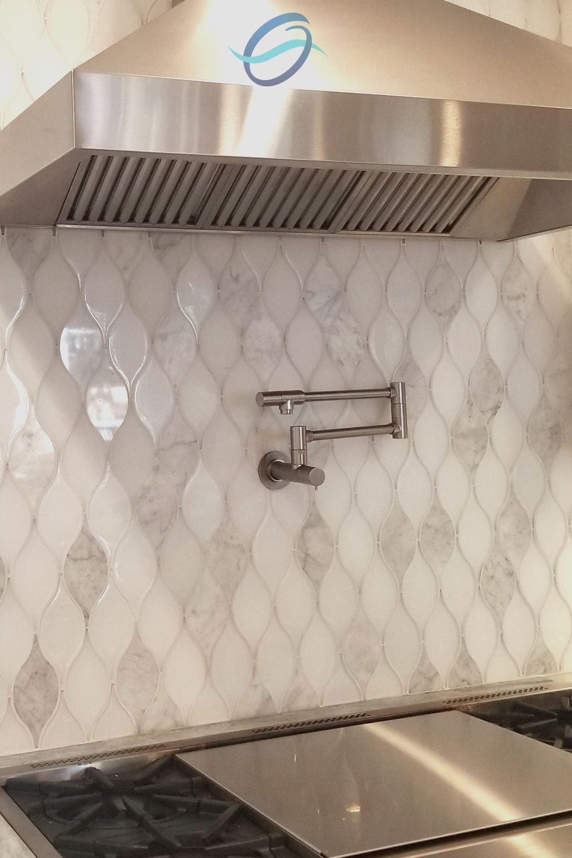 Above Stove Backsplash - Teardrop Mosaic Glass Tile