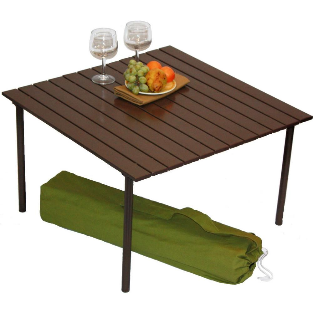 Tiab Table In A Bag Brown Aluminum Folding Outdoor Picnic