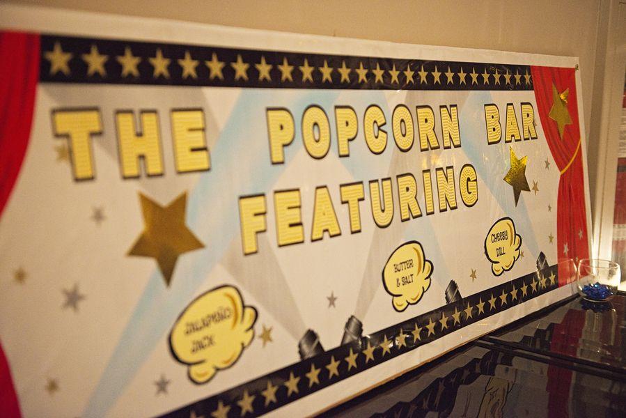 Popcorn bar evening snack {Real Plus Size Wedding} Movie Themed Wedding | Stephanie Beach Photography
