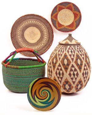 Uganda Rwenzori Bowl / Zimbabwe Binga Basket / Ghana Bolga Market Basket / Zulu Ilala Palm Ukhamba / Zulu Wire Basket