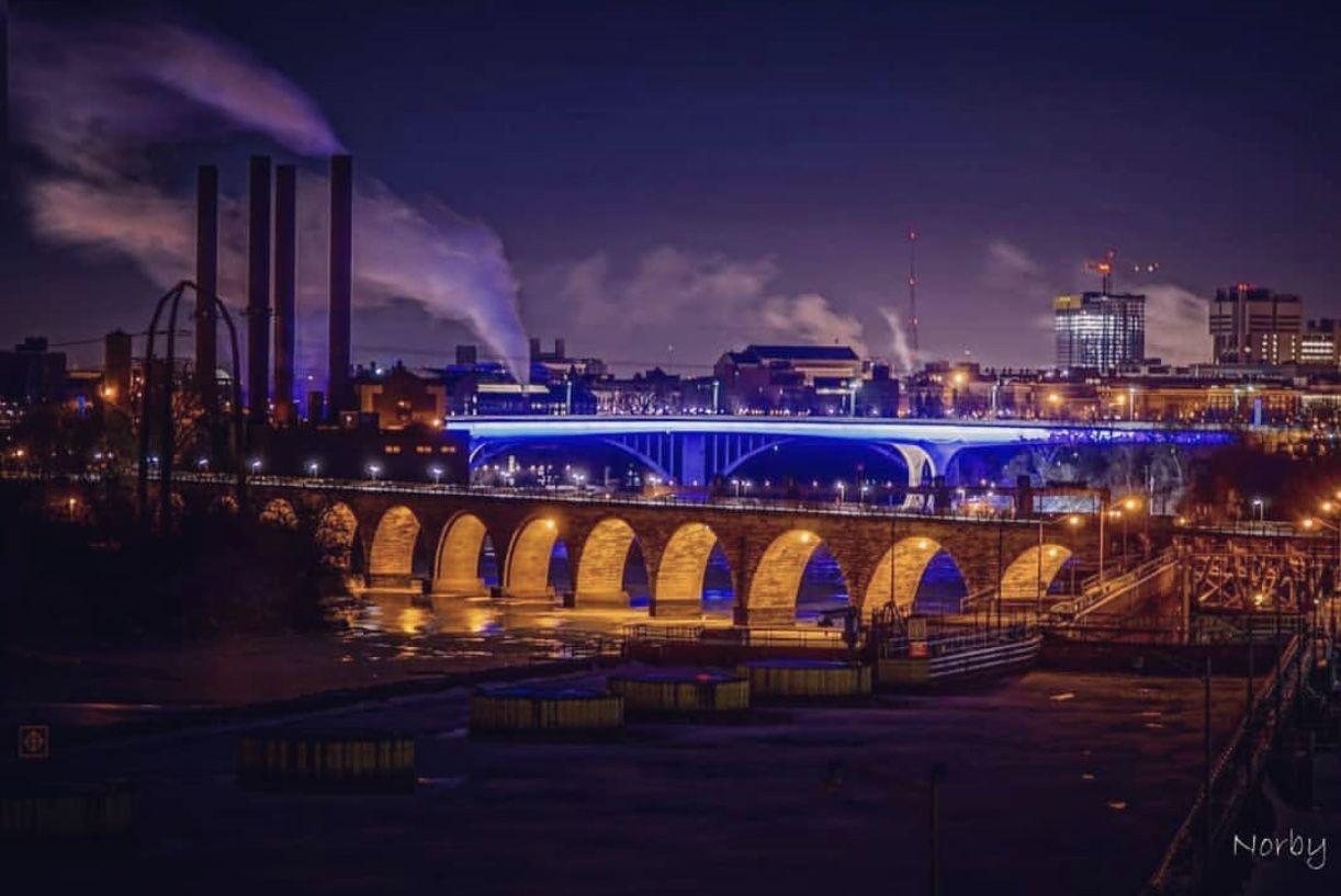 Downtown Minneapolis Bridges Minneapolis City Minnesota