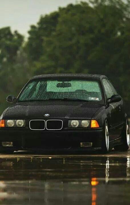 BMW E36 M3 black stance rain