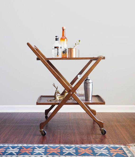 Vintage Mid Century Folding Bar Cart Wooden Modern Sleek Collapsible