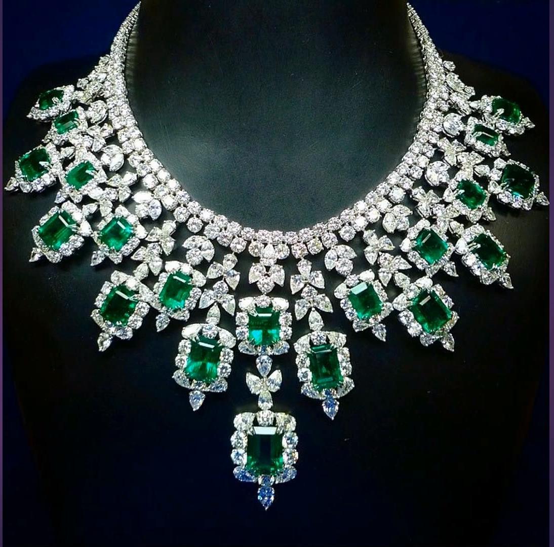 Emerald diamond and platinum bib necklace by graff jewelry my