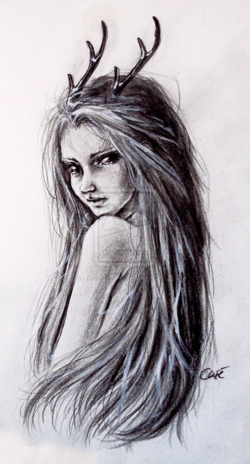 Deer girl by cassy on deviantart for Pretty sketches
