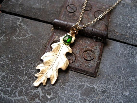 Brass Oak Leaf Chrome Diopside Gemstone by studioCjewelry on Etsy