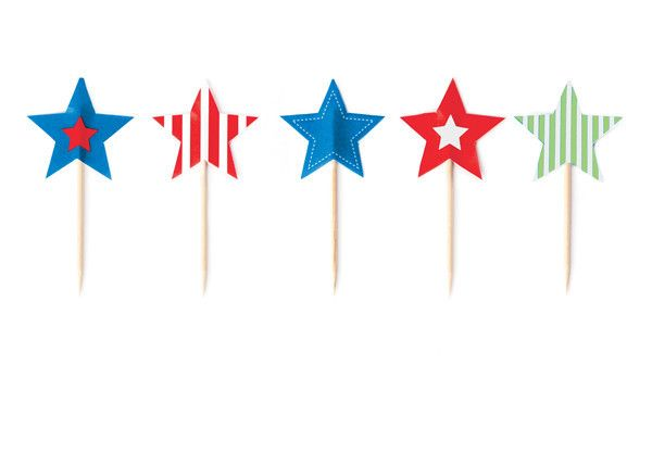 Muffin liners and cupcake baking cups toothpick flag toppers in blue green red star shaped
